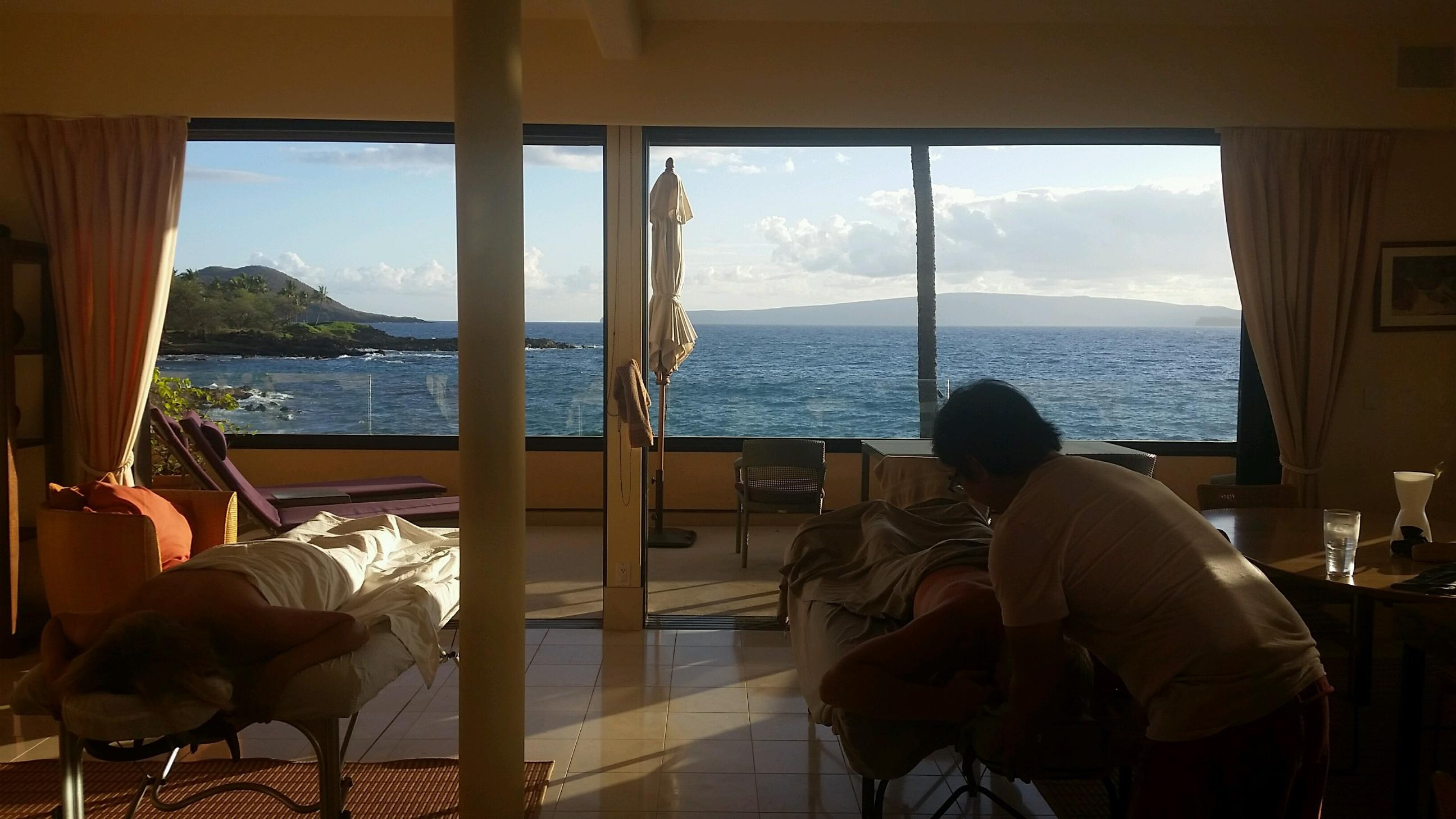 """One of my amazing massage """"office"""" views in Makena. That's me on the right. Picture taken with full permission from our awesome clients."""